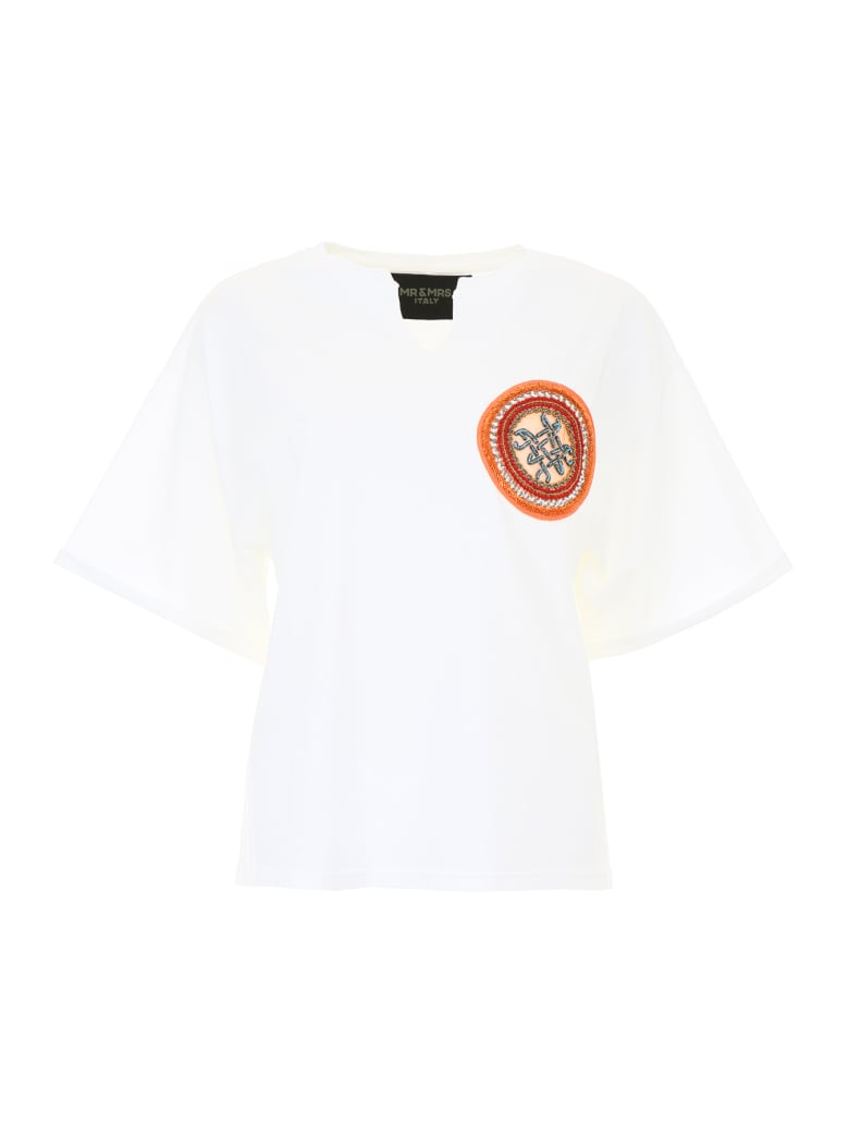 Mr & Mrs Italy T-shirt With Embroidery - IVORY (Beige)