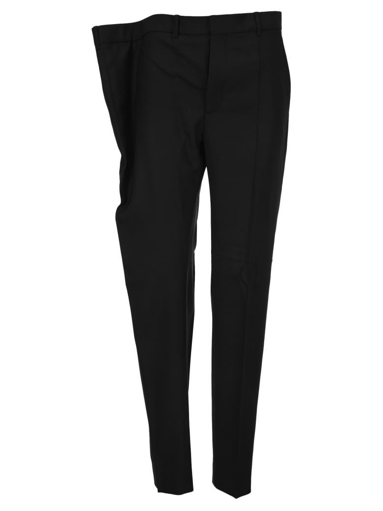 Y/Project Asymmetric Waist Tailored Trousers - BLACK