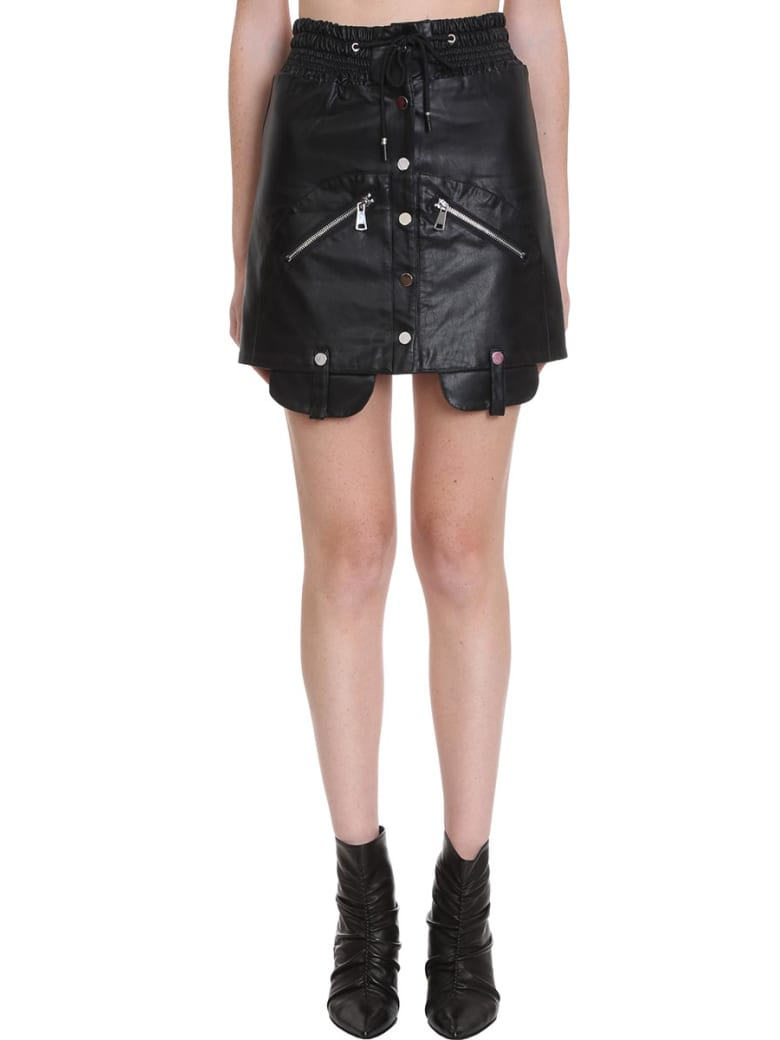 TPN3 Skirt In Black Faux Leather - black