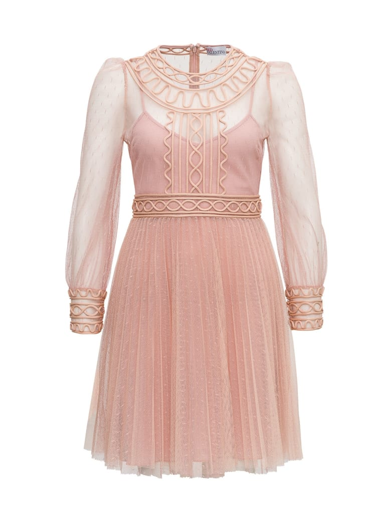 RED Valentino Point D'esprit Tulle Dress With Embroidery - Pink