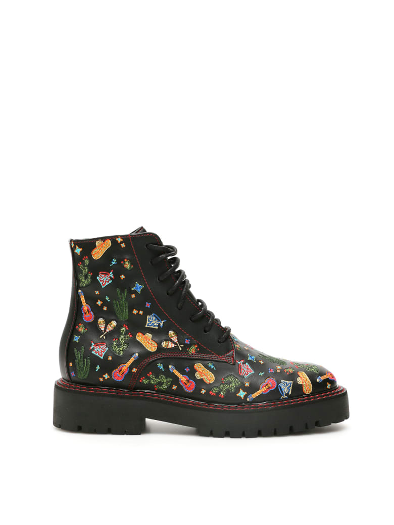 Dawni Mexican Embroidery Combat Boots - BLACK (Black)