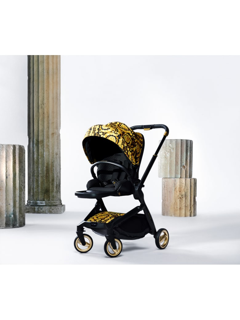 Young Versace Stroller With Baroque Print - Nero/oro