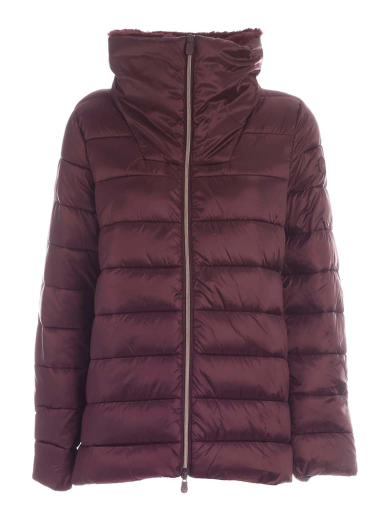 Save the Duck Fured Collar Down Jacket - Bordeaux