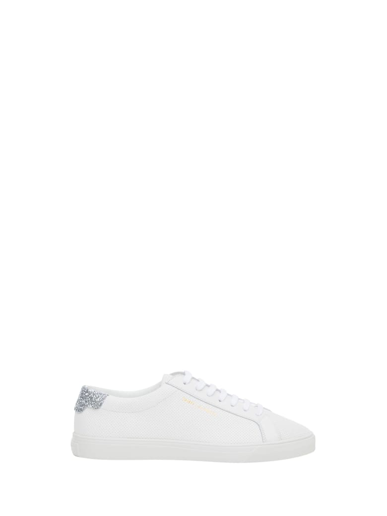 Saint Laurent Andy Sneaker Bassa In Pelle Liscia Con Spoiler In Glitter - Bianco