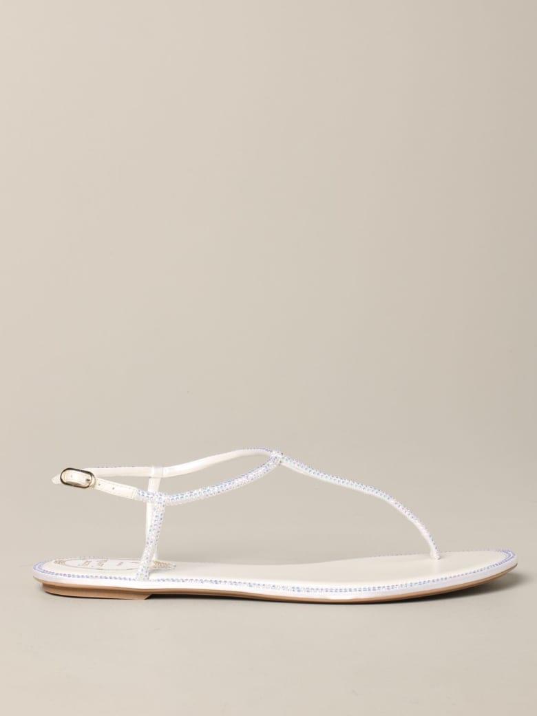 René Caovilla Rene Caovilla Flat Sandals René Caovilla Leather Sandal With Rhinestones - white
