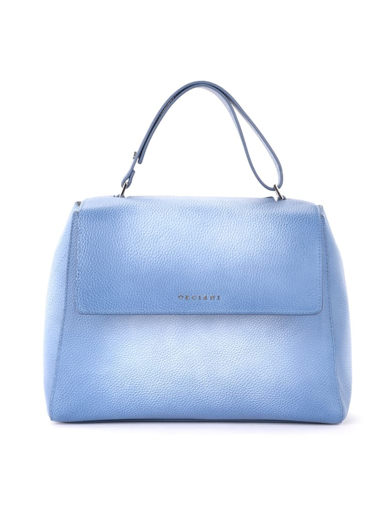 Orciani Sveva Medium Handbag In Shaded Blue Textured Leather - BLU