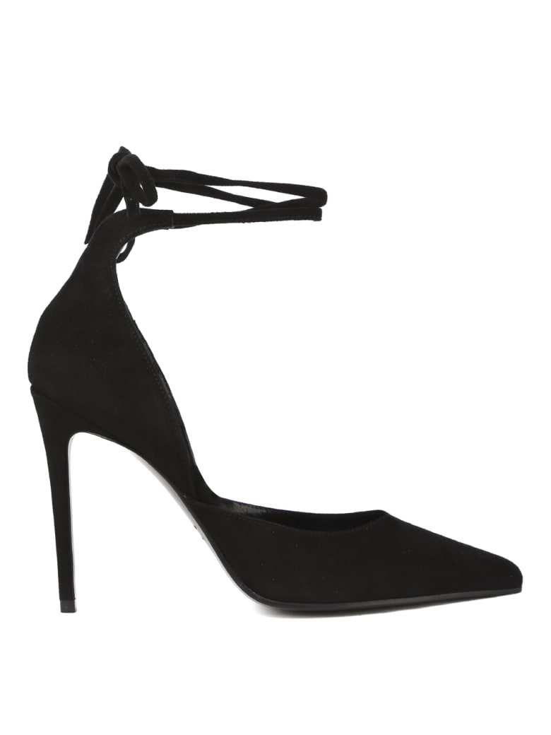 Aldo Castagna Black Suede Décolleté With Strap - Black