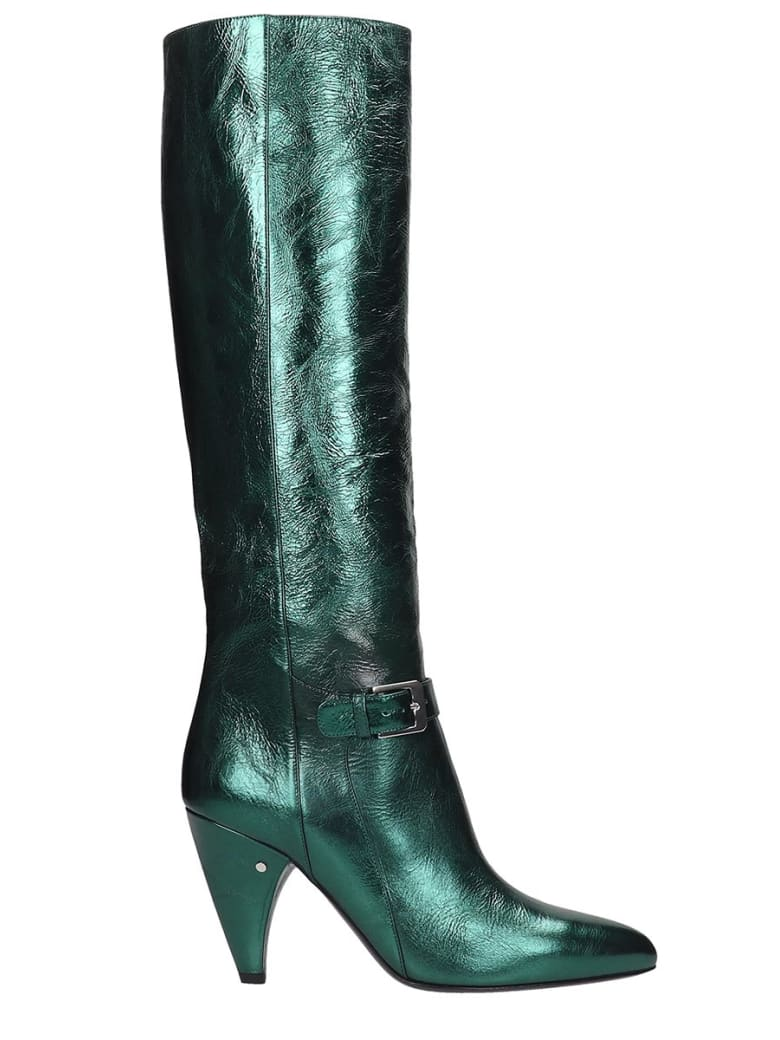 Laurence Dacade Vlad High Heels Boots In Green Leather - green