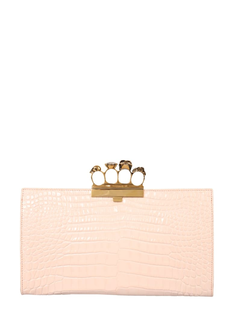 Alexander McQueen Skull Four-ring Flat Pouch - NUDE