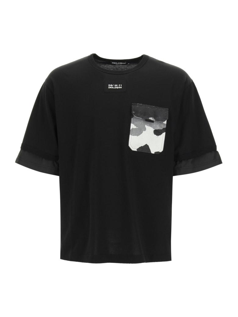 Dolce & Gabbana T-shirt With Nylon Inserts - BLACK