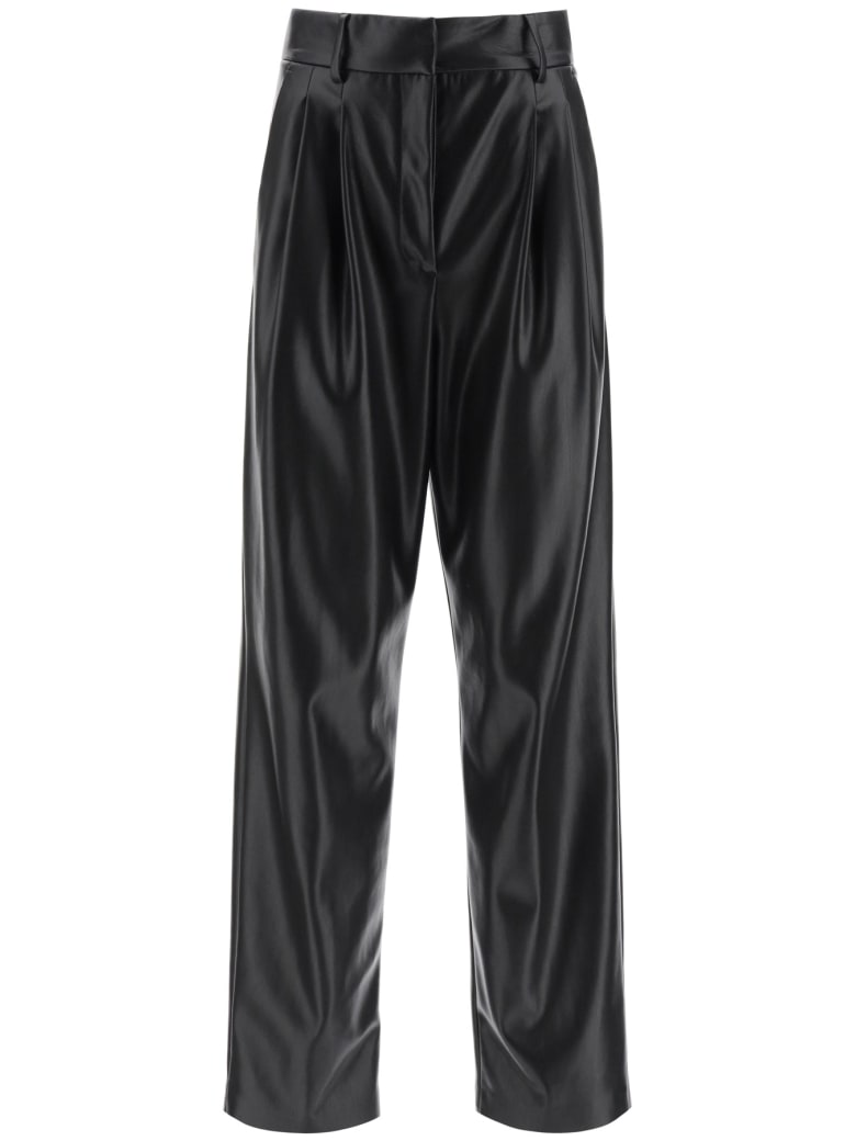 MSGM Faux Leather Loose Trousers - Nero