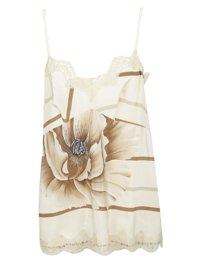 Ibrigu Lace Detailed Floral Tank Top - White