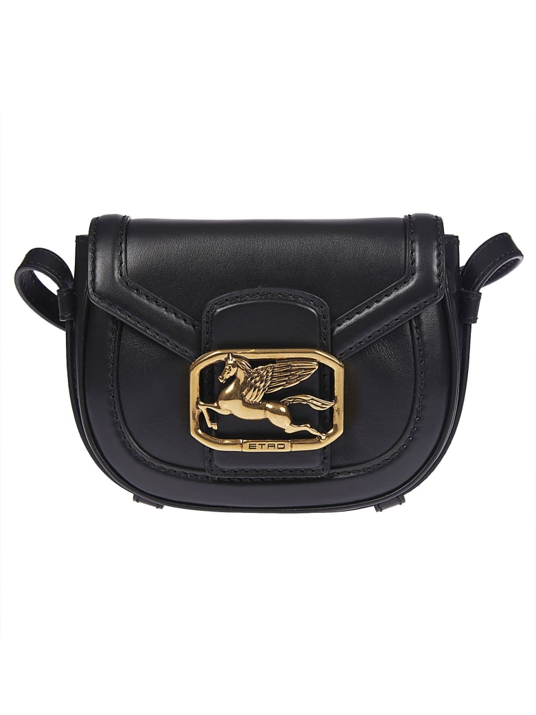 Etro Logo Plaque Flap Shoulder Bag - Black