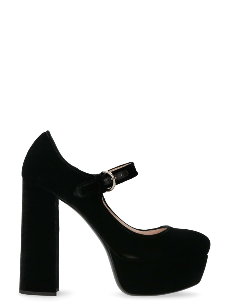 Miu Miu Velvet Mary-jane Pumps - black