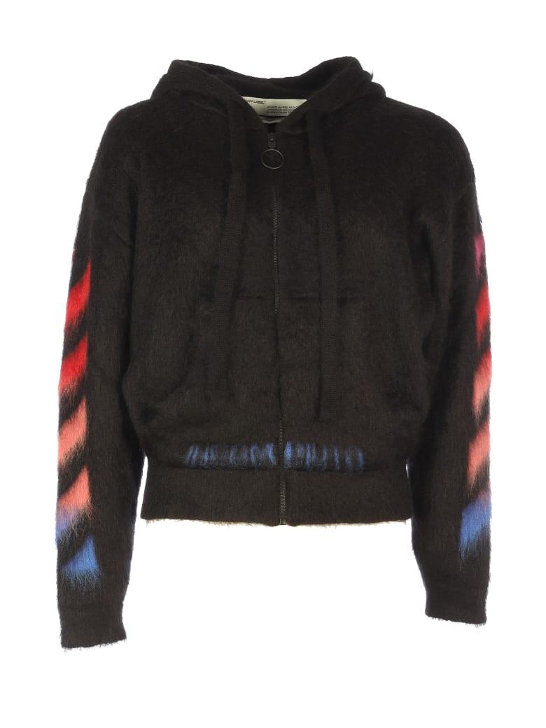 Off-White Diga Brushed Mohair Zip Hoodie - Black Multi