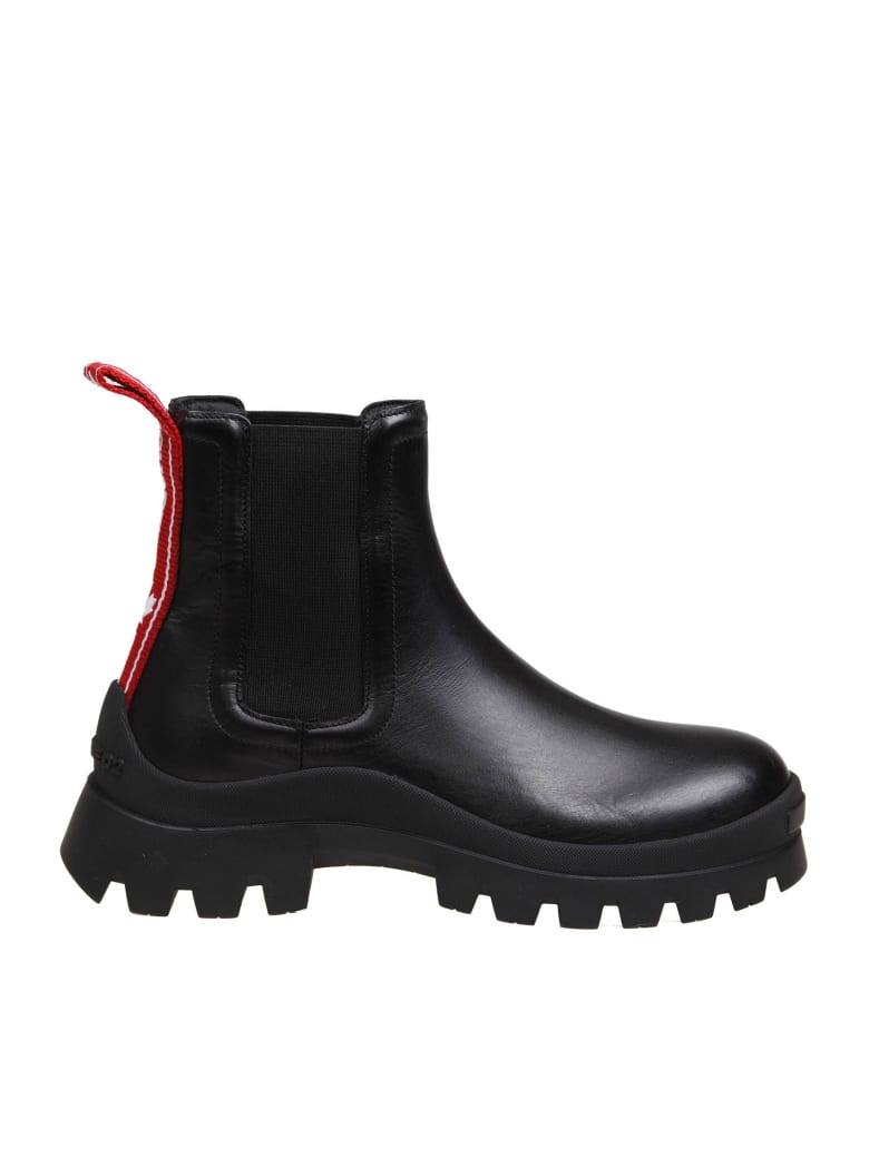 Dsquared2 Black Leather Anfibio - Black/Red