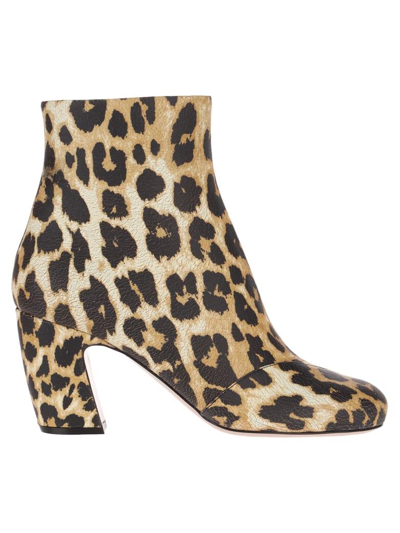 Miu Miu Leopard Print Ankle Boots - AVORIO LEO