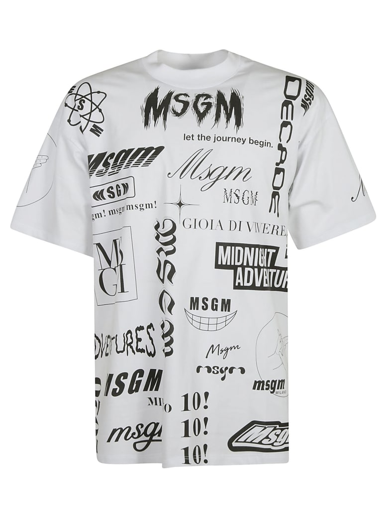MSGM All-over Printed T-shirt - white