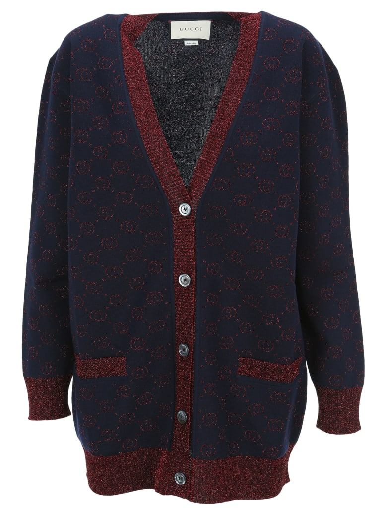 Gucci Jacquard Gg Knitted Cardigan - BLUE RED