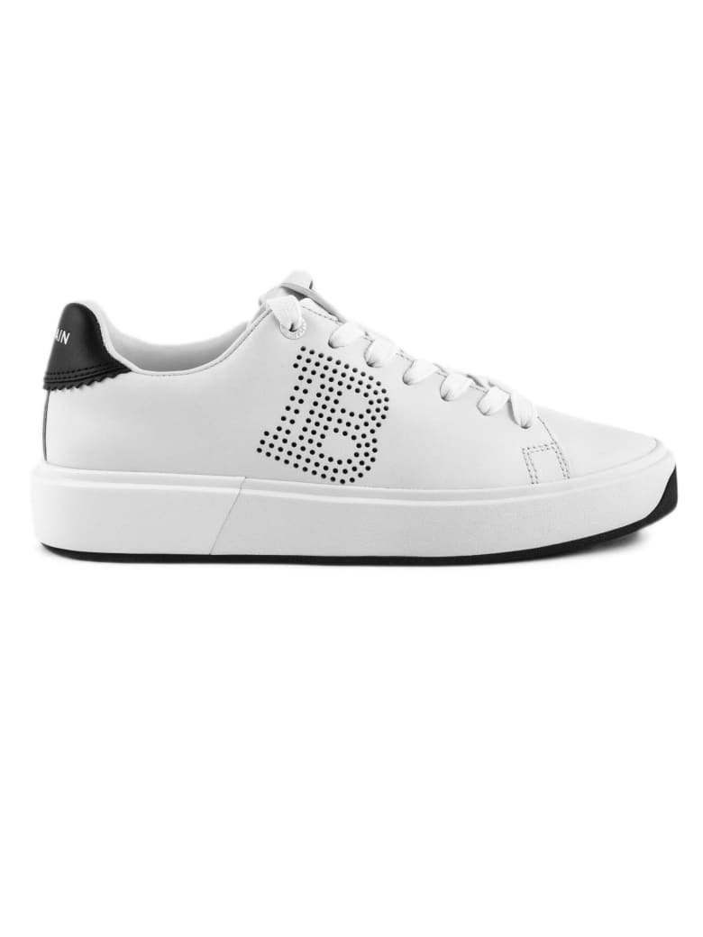 Balmain White Leather B-court Sneakers - Bianco+nero