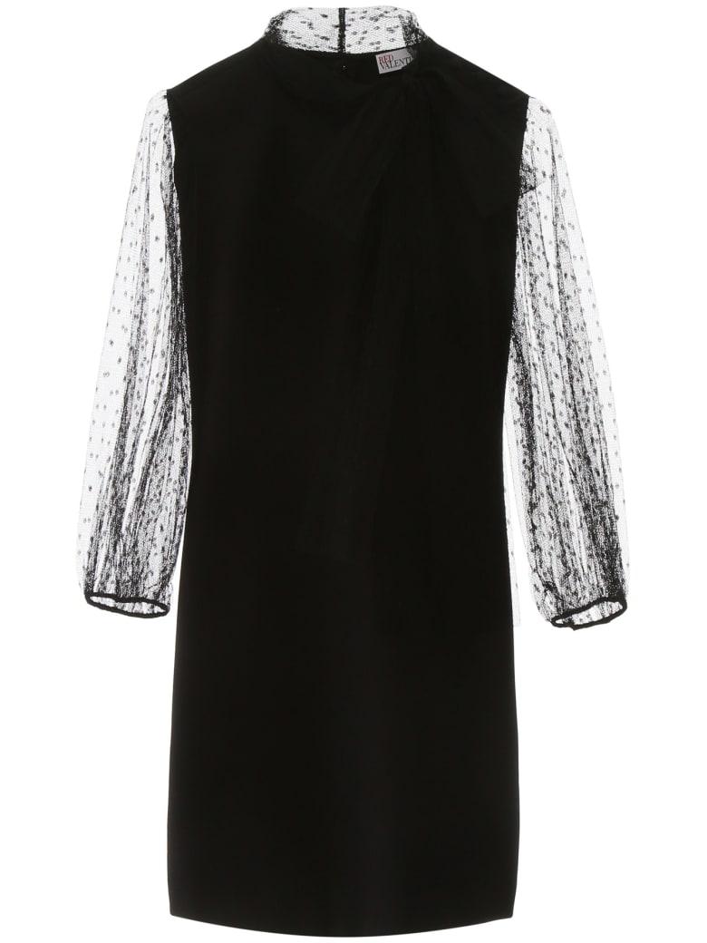 RED Valentino Mini Dress With Plumetis Details - NERO (Black)