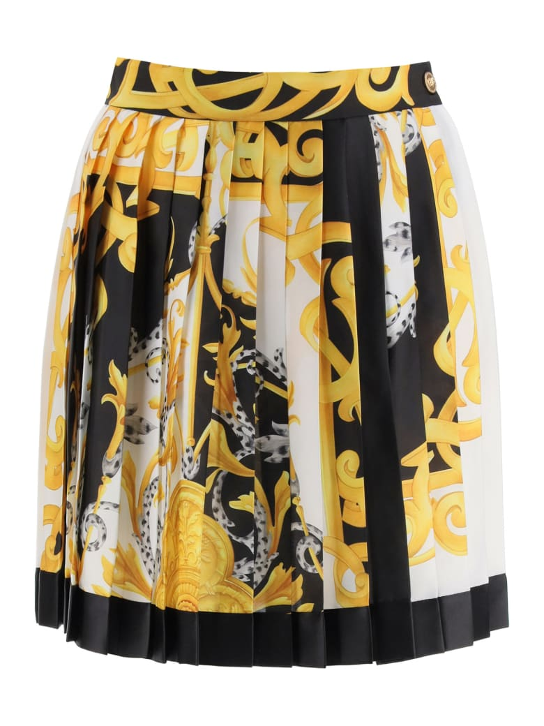 Versace Acanthus Barocco Pleated Mini Skirt