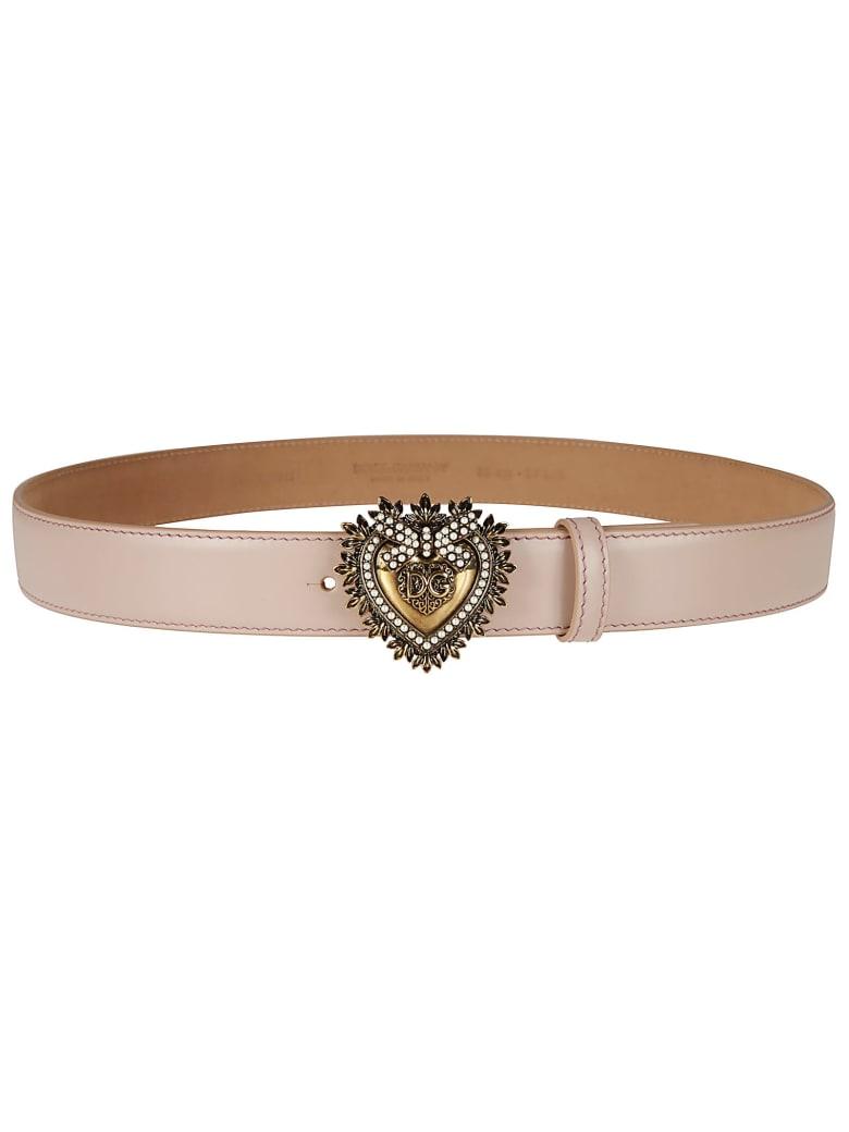 Dolce & Gabbana Heart Devotion Leather Belt - powder