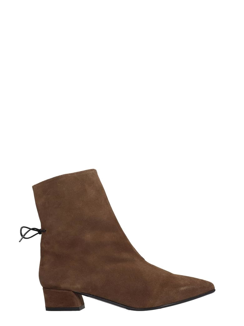 Fabio Rusconi Low Heels Ankle Boots In Brown Suede - brown