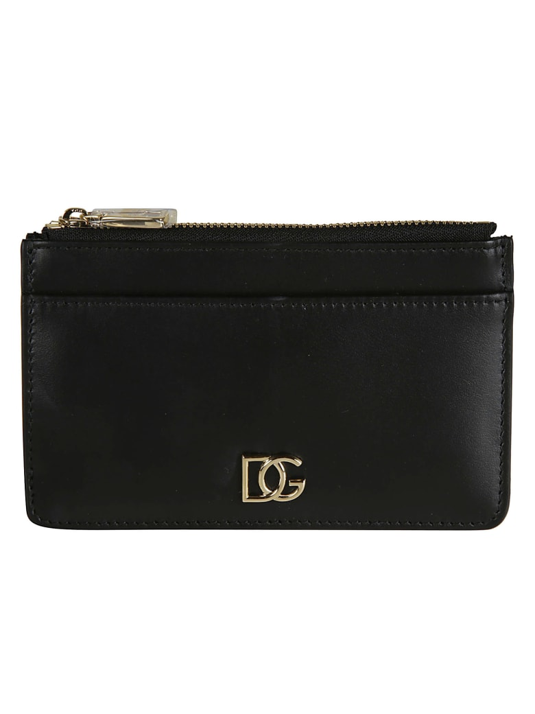 Dolce & Gabbana Top Zip Logo Plaque Wallet - black