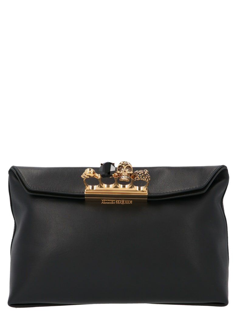 Alexander McQueen Skull Four Ring ' Bag - Nero
