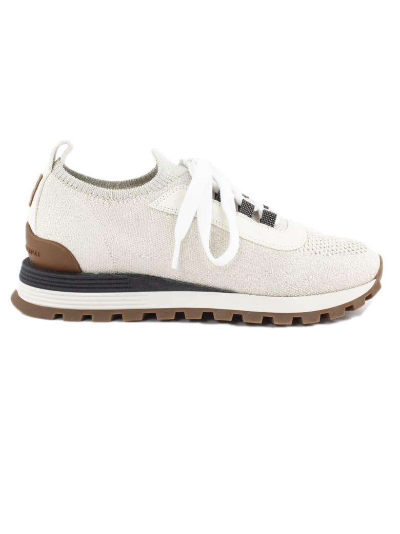 Brunello Cucinelli Beige Leather Sneakers - Panna