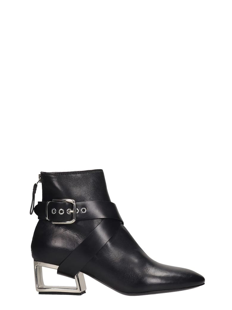 Premiata High Heels Ankle Boots In Black Leather - black