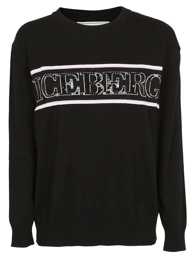 Iceberg Logo Knitted Sweater - Black
