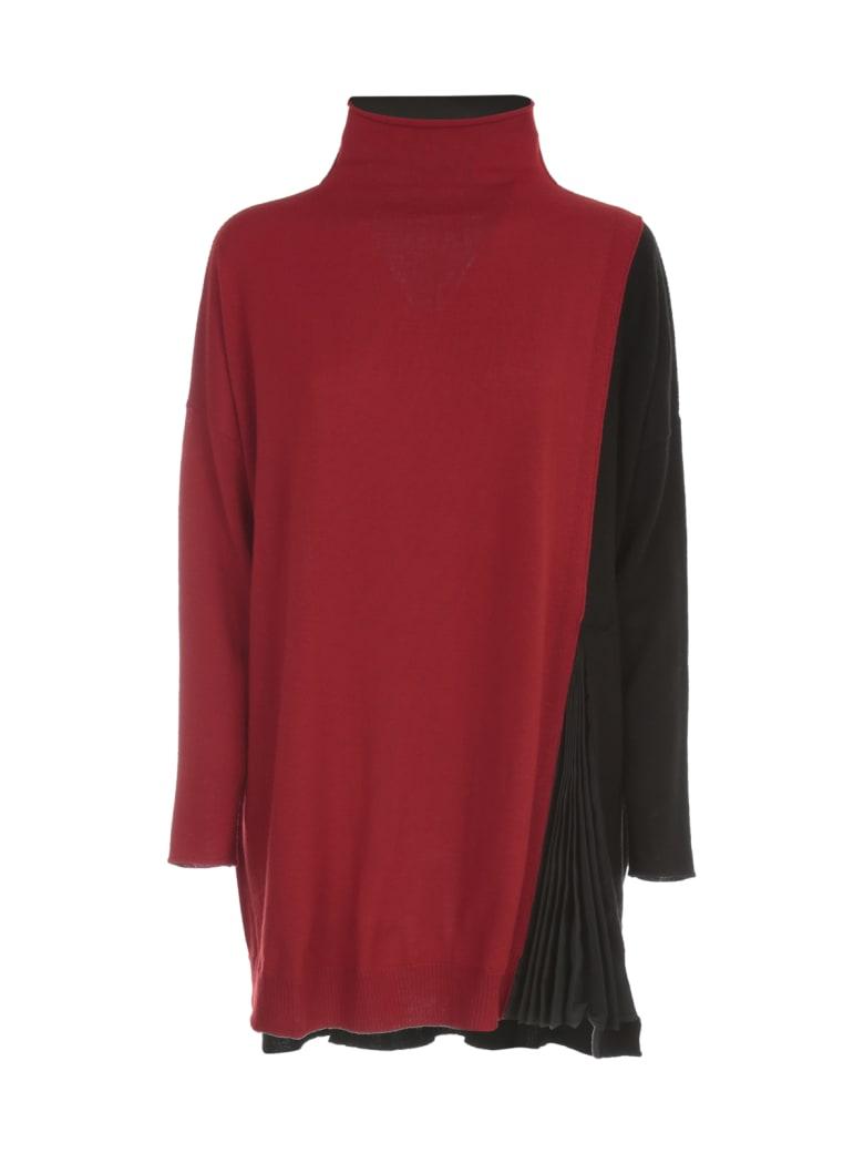 PierAntonioGaspari Oversized Pleated High Neck Sweater - Rosso
