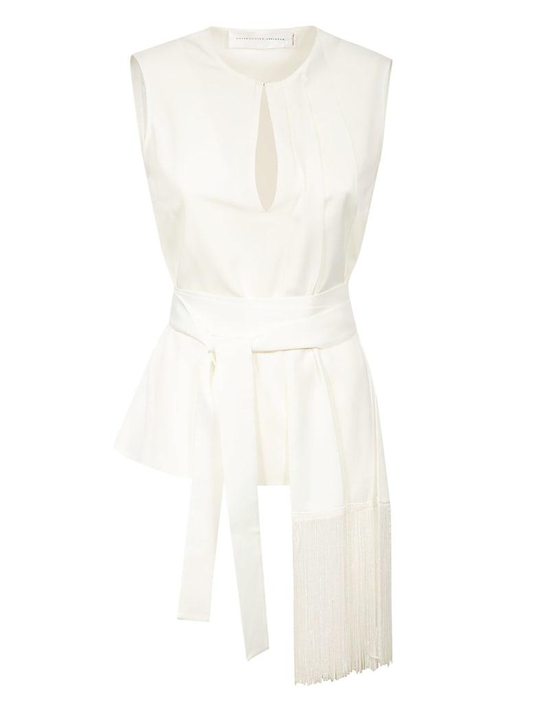 Victoria Victoria Beckham Fringed Scarf Top - White