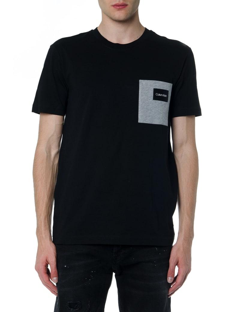 Calvin Klein Black Cotton T Shirt With Pocket - Black/grey
