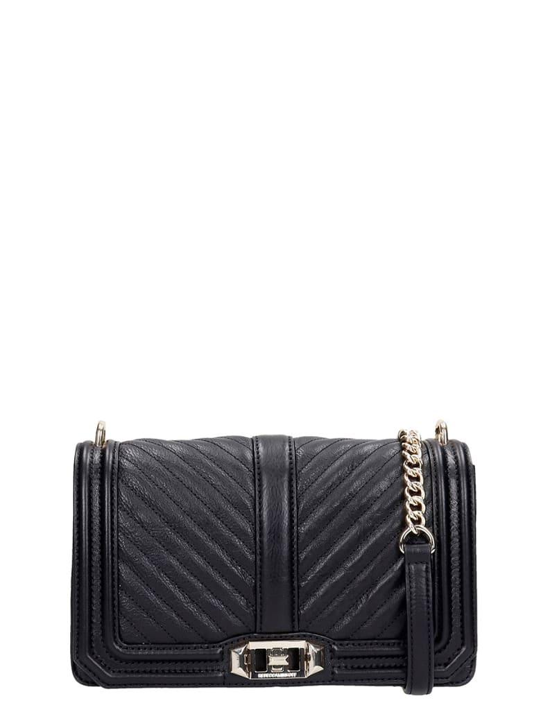 Rebecca Minkoff Chevron Qulted  Shoulder Bag In Black Leather - black