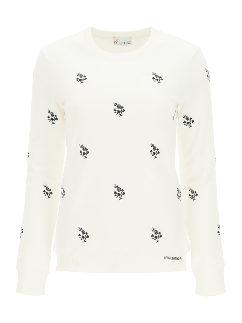 RED Valentino Sweatshirt With Clover Embroidery - WHITE