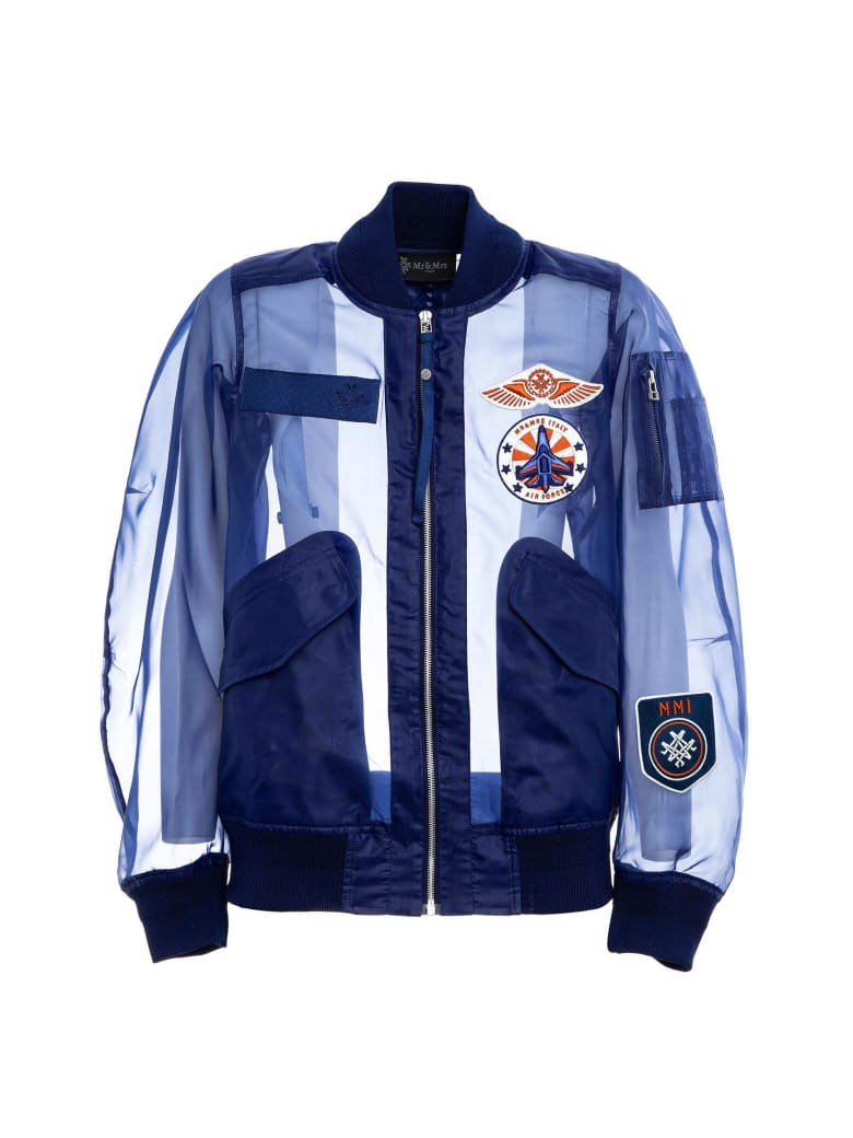 Mr & Mrs Italy Technical Organdy Bomber For Woman - INDACO/BLUE