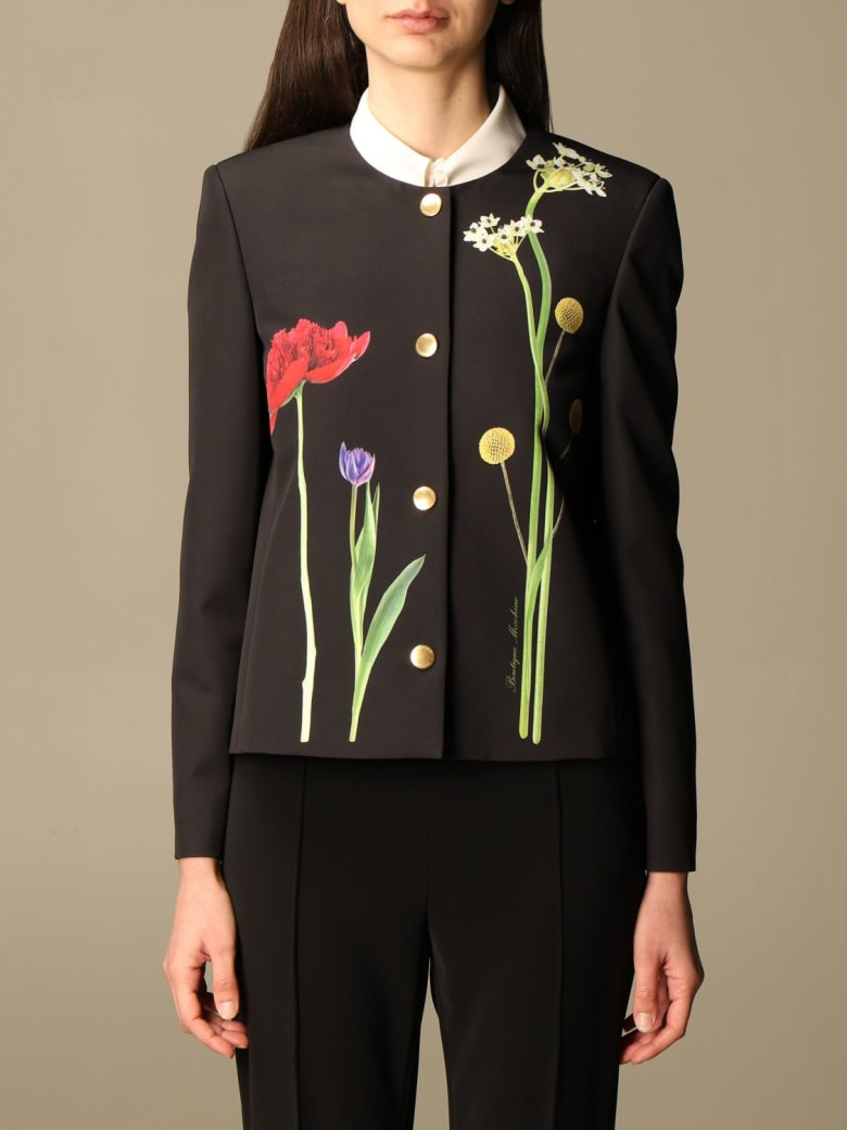 Boutique Moschino Blazer Moschino Boutique Jacket In Cady With Botanical Pattern - Black