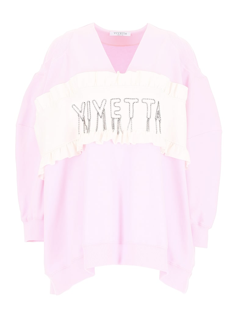 Vivetta Crystal Logo Sweatshirt - PINK BABY (Pink)