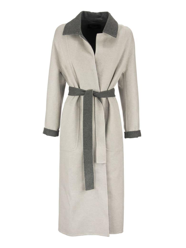 Loro Piana Kerrin Coat With Belt Silver Grey - Silver/grey