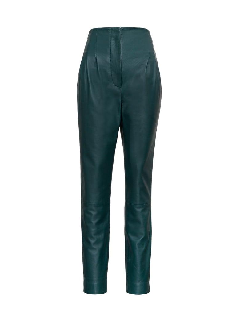 Alberta Ferretti High Waisted Leather Pants - Green