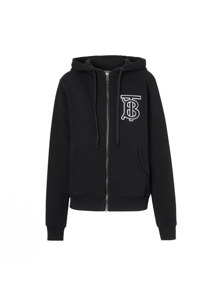Burberry Aubree Zip Logo Cotton Top - Black