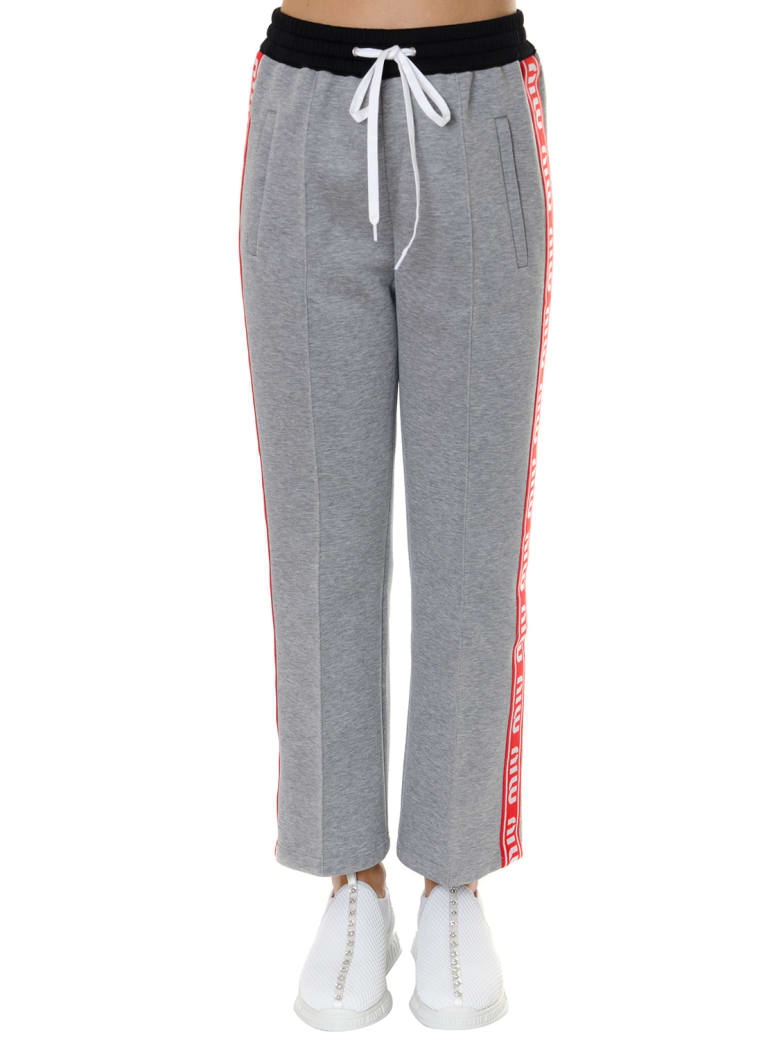 Miu Miu Gray Cotton Blend Trousers With Logo Inserts - Gray/red/black