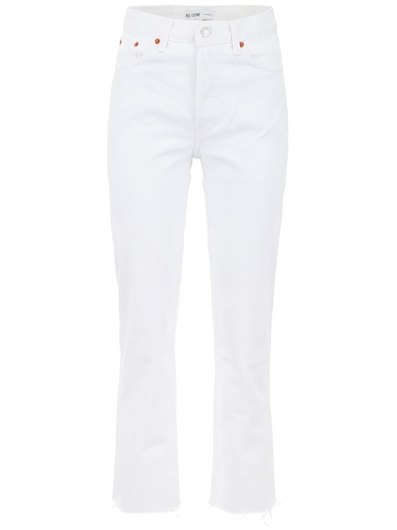 RE/DONE High Rise Stovepipe Jeans - WHITE (White)