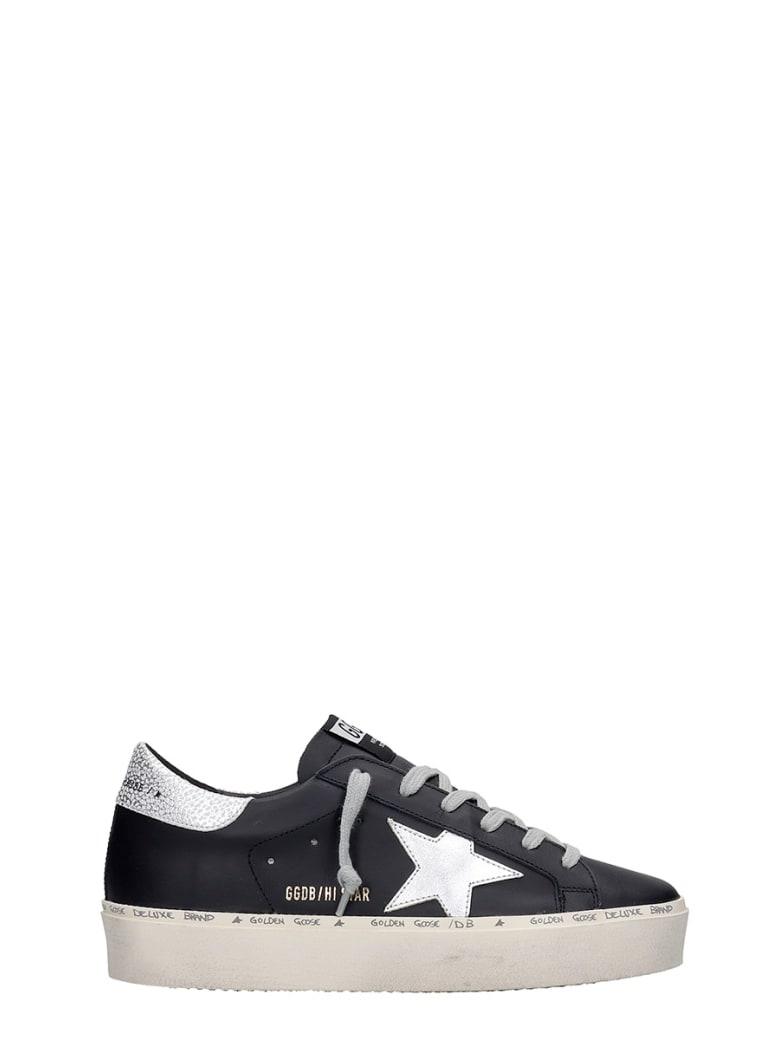 Golden Goose Hi Star Sneakers In Black Leather - Black Silver