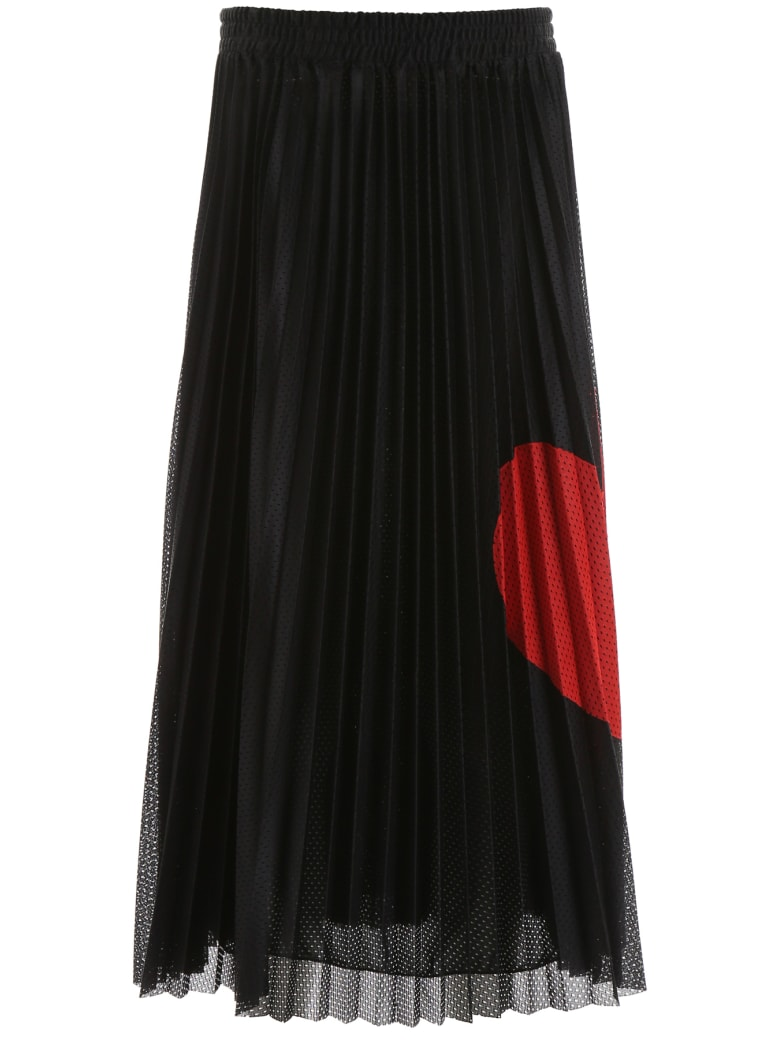 RED Valentino Pleated Skirt With Heart - NERO ROSSO (Black)