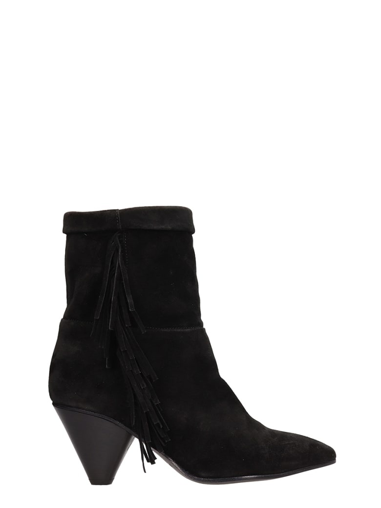 Janet & Janet Black Suede Leather Ankle Boots - black