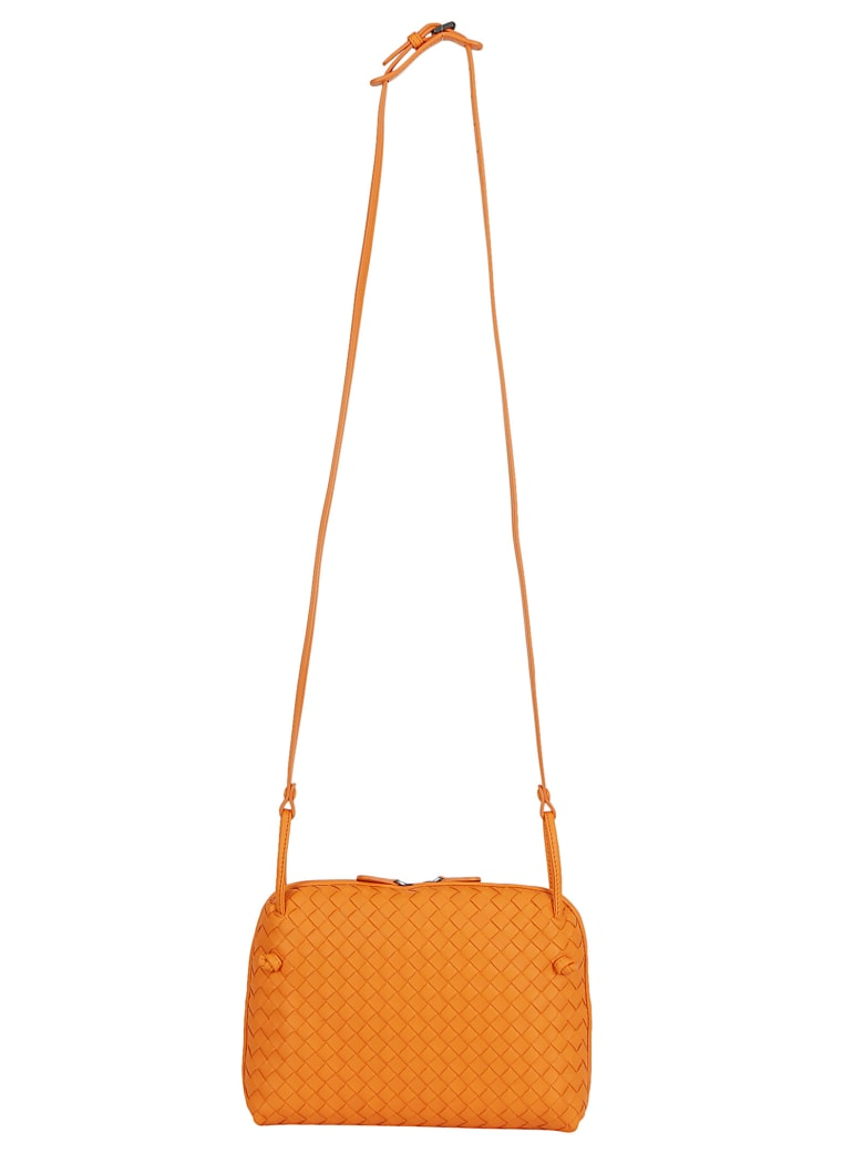 Bottega Veneta Leather Shoulder Bag - Light orange/gold